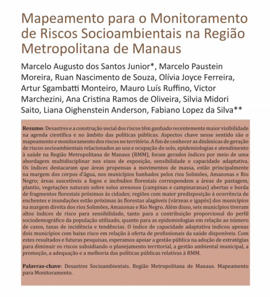Mapeamento para Monitoramento de Riscos Socioambientais na Região Metropolitana de Manaus